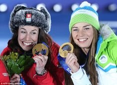 Double gold: Friends and rivals  Dominique Gisin, left, from Switzerland and and Slovenia's Tina Maze shared the glory after the Women's Alpine Downhill event ended in a tie for the first time in Olympic history