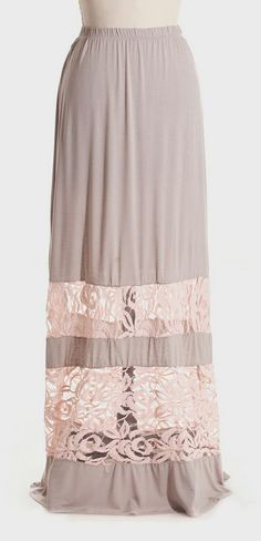 Taupe & Pink Lace Stripe Maxi Skirt