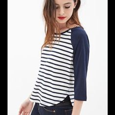 Navy Striped Baseball Tee Quarter-sleeved Navy/White Baseball T-shirt -- true to size. No rips, stains, or deformities. Make me an offer !! Forever 21 Tops Tees - Long Sleeve