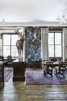 The Fife Arms, Cairngorms - Hauser & Wirth new hotel Scotland Lucian Freud Portraits, Deep Bathtub, Eagle Painting, Chinese Interior, Cairngorms National Park, Country House Interior, Private Dining Room, Dining Room Inspiration, Country Style Homes