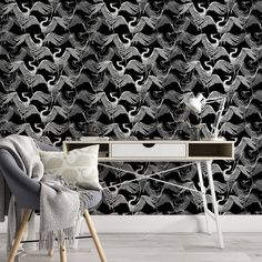 Crane Pattern Removable Wallpaper, Translucent Bird Wall Cling, Black and White Peel and Stick, Dark Wall Mural, Cool Modern Home Decor - Canvas Wall Decal / 1 roll: 24W x 132H