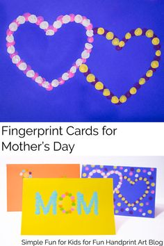 3 Simple Templates for Creating Mother's Day Cards with Kids using Fingerprints