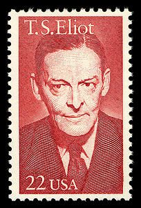 The 22-cent stamp honoring poet and dramatist T.S. Eliot was issued on September 26, 1986, in St. Louis, Missouri.