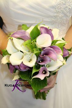white and purple calla lily bouquet