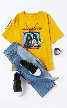 ccfd8ac4 Yellow Cartoon Print T-shirt. Two colors available. Aerosmith Shirt, Band  Shirt