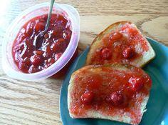 Cherry, Rhubarb, Raspberry Freezer Jam