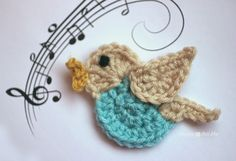 Repeat Crafter Me: N is for Nightingale: Crochet Nightingale Bird Applique Free Crochet Pattern...thanks so for share xox ☆ ★ https://www.pinterest.com/peacefuldoves/