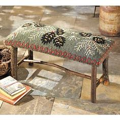 Hooked Wool Pinecone Bench, would be cute at the Farm Rug Hooking Designs, Rug Hooking Patterns, Rug Inspiration, Hand Hooked Rugs, Rustic Chair, Penny Rugs, Traditional Rugs, Chair Pads, Rug Making
