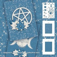 Blue Yule Decoupage Mini Kit - Celebrate the winter solstice with this enchanting silver and blue card featuring a poinsettia festooned pentacle on the cover and the triple moon goddess symbol inside.  Art by Hafapea & JanP #CardMakingKits #CraftsUPrint #LisaMayette #Hafapea