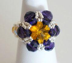 Nouvelle bague jaune et violette réalisée en perle de cristal de Swarovski