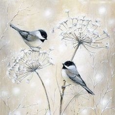 Two Chickadees cushion panel front panel only от sarahsummers