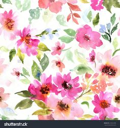 Watercolor floral pattern. Seamless pattern with purple and pink bouquet on white background. Meadow flowers
