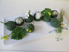 내고향 호박잎 쌈밥 cute Korean ssam  bap - rice balls wrapped in cooked squash leaves.