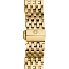 MICHELE 'Deco II' 16mm Bracelet Watchband featuring polyvore, women's fashion, jewelry, bracelets, gold, art deco inspired jewelry, 18k gold bangle, geometric jewelry, 18k jewelry and deco jewelry
