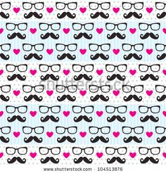 Cute mustache heart pattern! cute for a background also
