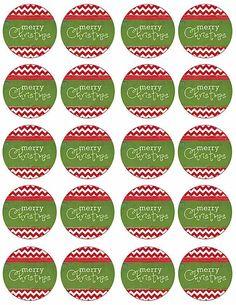 Modern Festive Merry Christmas Holiday Party Free Cupcake Toppers _ Tags via Kara's Party Ideas www.KarasPartyIdeas.com