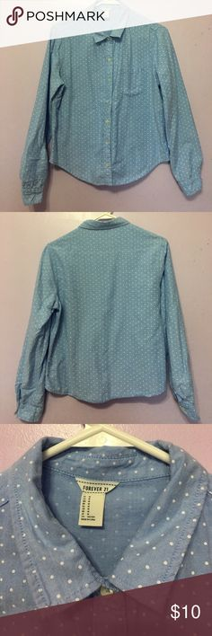 Button Polka Dot Button Up Shirt Blue polka dot button up shirt, pocket on the left side, great for layering or tying around your waist! Forever 21 Tops Button Down Shirts