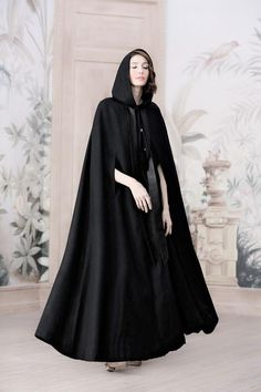 hooded wool cloak in black maxi wool coat maxi wool cape black cloak cashmere cloak maxi cloak hooded cape Don Du Sang, Gothic Corset, Victorian Gothic, Gothic Lolita, Black Gothic Dress, Hooded Cloak, Hooded Dress, Leder Outfits, Wool Cape