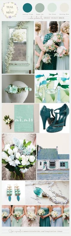 Wedding Color Palette: Teal + Mint (a color palette in tones of teal and mint). Two of my favorites on the cool end of the color spectrum, and they pair beautifully simply with each other or with accents of cream, blush, or lavender. This color palette looks lovely with bridesmaid dresses in watercolor shades of sea glass mint, peacock teal, and misty grey-green (think dusty miller). These colors are naturally soothing and relaxing to look at.