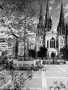 St Paul's Cathedral, Flinder's Street, Melbourne - taken from the plaza above Prince's Bridge Station, next to the Gas & Fuel Towers