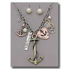 Mixed Tone Nautical Charm Necklace Set My Heart Belongs To The Sea and Love Anchors The Heart Faux Pearl Stud Earring