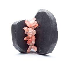 GABRIELLE DESMARAIS-CANADA-Brooch: Cocon I Wood, graphite pigments, rough chili quartz, thread