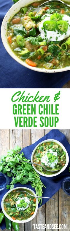 Chicken and Green Chile Verde Soup – Hearty, Low-calorie & Low-fat, w/pinto beans, salsa verde, chilies, carrots, onions, garlic, & chicken. http://tasteandsee.com