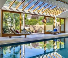 Indoor pools indoor-outdoor swimming pool How Much Do Hardwood Floors Cost? Luxury Swimming Pools, Luxury Pools, Swimming Pools Backyard, Swimming Pool Designs, Pool Landscaping, Lap Swimming, Backyard Pool Designs, Backyard Patio, Backyard Layout