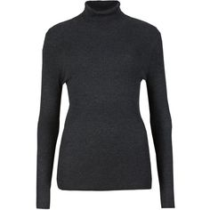M&S Collection Ribbed Polo Neck Jumper (1,220 INR) ❤ liked on Polyvore featuring tops, sweaters, grey, grey turtleneck, holiday turtleneck, grey jumper, grey turtleneck sweater and long sleeve jumper