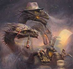 Russian illustrator Andrew Ferez. (three-headed dragon writes his story)
