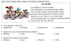 ATIVIDADES PARA EDUCADORES: 2º Ano Texto OS CICLISTAS