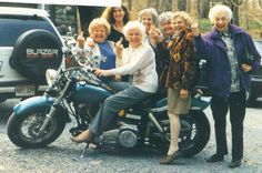 This one goes in the Diva section!  Hell yeah Grannys on Bikes! They are all flipping the bird. lol