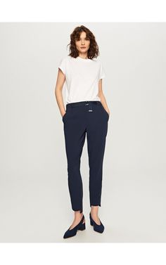 Smart trousers, Trousers, navy, RESERVED