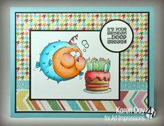Art Impressions Ai Zoo Crew: Deep Breath Birthday (Sku #4471) Handmade blowfish birthday card.  Could be masculine as well.