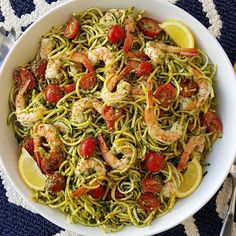 Fresh Pesto, with Shrimp & Zoodles by @cleanfoodcrush @cleanfoodcrush . This takes 15 minutes to throw together, and it's equally great for busy weeknights, or served at the weekend BBQ's! . Serves 6-8 Ingredients: -Fresh Pesto 2 cups fresh basil (loosely packed) 2 cloves garlic 1/3 cup fresh grated parmesan cheese Sea salt, and pepper to taste 4 Tbsps avocado oil, or extra virgin olive oil For the zoodles: 6 small/medium zucchinis, or yellow squash, spiralized 24 oz. co
