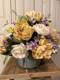 This arrangement, made of soft colors such as pink, champagne and lavender, would look wonderful on any dining room table! Artificial Floral Arrangements, Flower Arrangements, Metal Containers, Floral Foam, French Country Style, Pink Champagne, Soft Colors, Paint Ideas, Vintage Decor