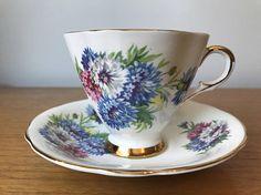 Windsor Vintage Teacup and Saucer Blue White Pink Corn