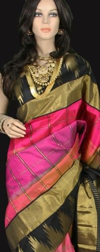 Peach and Pink Checks Kanjeevaram Saree with Zari Temple border on black