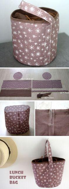 How to Sew Lunch Box Bucket Bag. Photo Tutorial DIY http://www.free-tutorial.net/2016/12/drawstring-lunch-bucket-bag.html