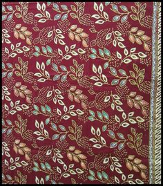 Modern Kombinisi #Batik - Multicolor leaves on maroon background
