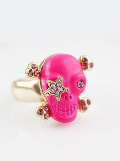 Red Skull Gold Crystal Star Ring US$6.69