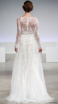 anne barge fall 2017 bridal lace long sleeves sheer bateau neckline heavily embellished bodice elegant a  line wedding dress illusion back sweep train (claire) bv
