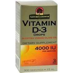 Nature's Answer Vitamin D-3 Drops - 4000 Iu - 0.5 Fl Oz