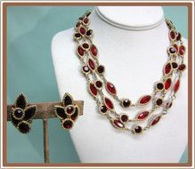 Kramer Red Rhinestone Necklace and Earrings Open Back