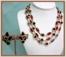 Kramer Red Rhinestone Necklace and Earrings Open Back