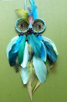 Dream Catcher - Owl - Blue, Turquoise, Green - Owl Dreamcatcher