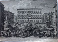 41 x 56 cm - not framed - Vasi was perhaps the master of Piranesi. This is an uncoulored finely-printed very rare engraving. We found only one copy on the trade-market. The majestic square with the palazzo Farnese and an innumerable mass of dignitaries , coaches and guards. Beneath the image a legenda giving the names of the peaple. A very impressive print with short (original) margins in e perfect state. Will be posted bij track and trace method. The picture makes some light…