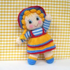Sunny Sally - toy doll knitting pattern - PDF INSTANT DOWNLOAD