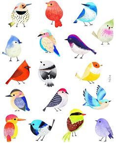 Here's a menagerie of birds by @neiko_ng to wake you up from your #MondayBlues! #birds #mondayfunday #illustration #art