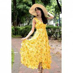 Women's Chiffon Backless Flounce Bohemian Style Elegant Ladylike Dress